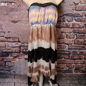 Boho Hi Low Strapless Dress